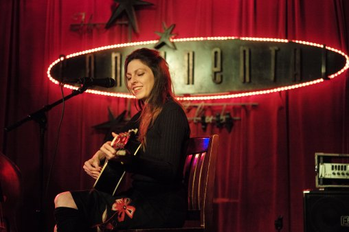 Amy Nelson, guitarist of Folk Uke, performs during their show at The Continental Club in Austin, Texas, on Thursday, Jan. 21, 2016.