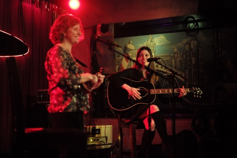 Cathy Guthrie and Amy Nelson perform during their show at The Continental Club in Austin, Texas, on Thursday, Jan. 21, 2016. Together, Guthrie and Nelson make up Folk Uke.