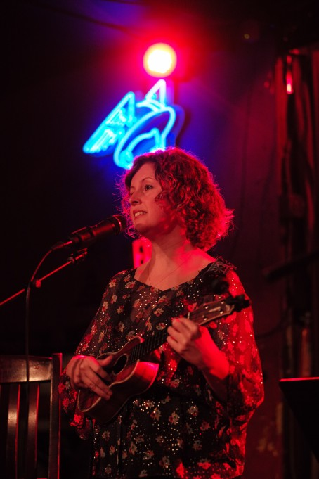 Cathy Guthrie, ukulele player of Folk Uke, plays in front of the crowd during their show at The Continental Club in Austin, Texas, on Thursday, Jan. 21, 2016.