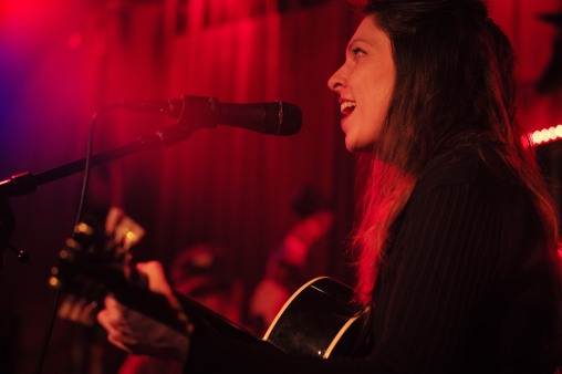 Amy Nelson, guitarist of Folk Uke, sings in front of the crowd during their show at The Continental Club in Austin, Texas, on Thursday, Jan. 21, 2016.